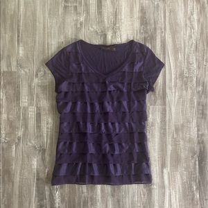 The Limited Ruffle Short Sleeve Top Purple Small